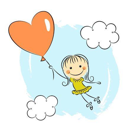 heart balloon: Little girl with heart balloon
