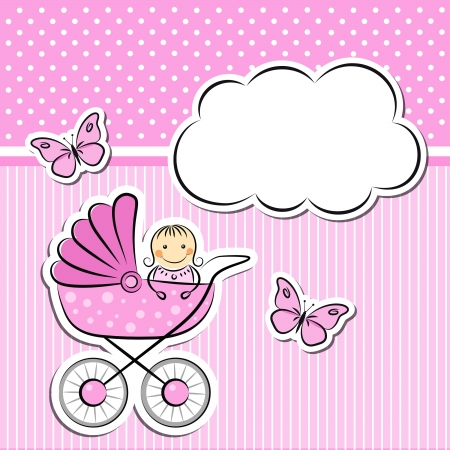 Baby girl arrival announcement Stock Vector - 20691950