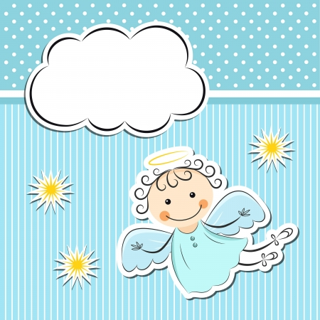 angels: Little angel with stars and cloud