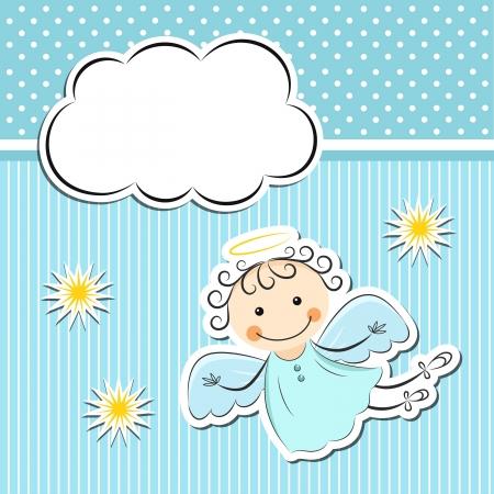 nubes caricatura: Poco ángel con las estrellas y las nubes