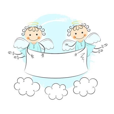 angeles bebe: Dos pequeños ángeles Vectores