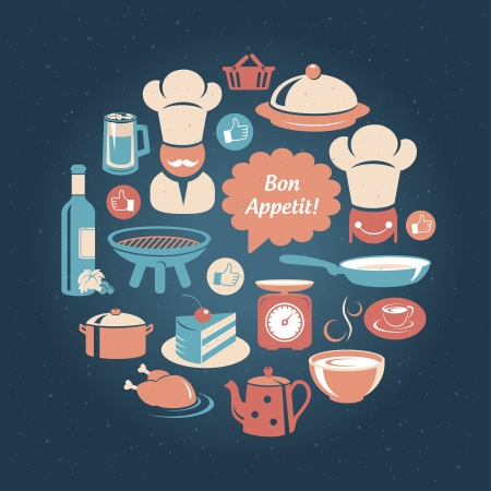 Food and cooking icons round set Vector