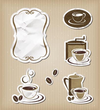 coffee stain: Coffee menu vintage set