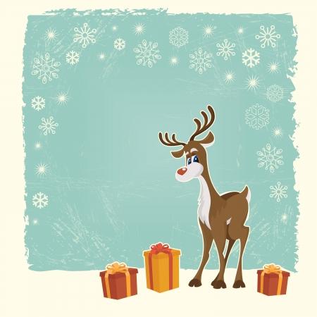 renos de navidad: Retro tarjeta de Navidad con renos