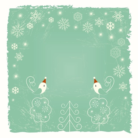 Retro Christmas card with snowflakes and birds