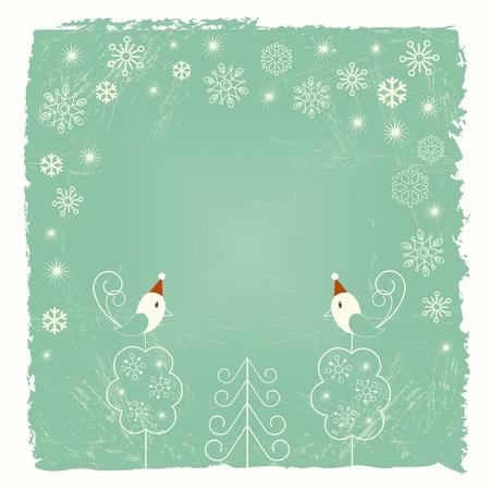 schneeflocke: Retro Weihnachtskarte mit Schneeflocken und Vögel
