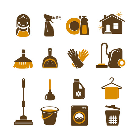 whisk broom: Cleaning vector icons