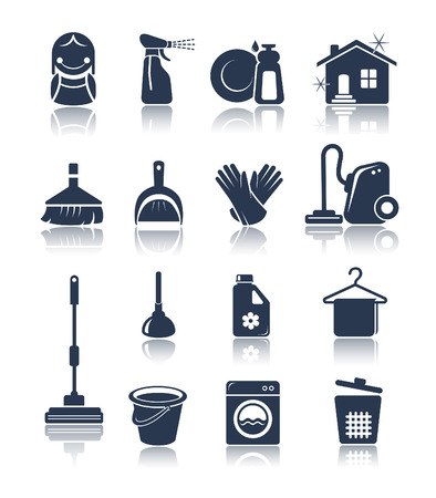 house chores: Cleaning blue icons