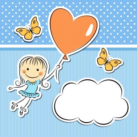 love cloud: Happy girl with heart balloon