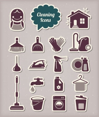 house chores: Cleaning icons paper cut style Illustration