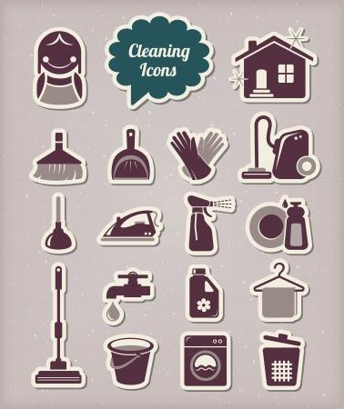 servicio domestico: Limpieza de iconos de estilo de corte de papel Vectores