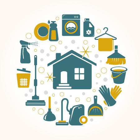 house: Reinigen van gereedschappen ronde kaart Stock Illustratie