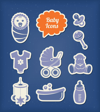 romper: Baby icons paper cut style Illustration