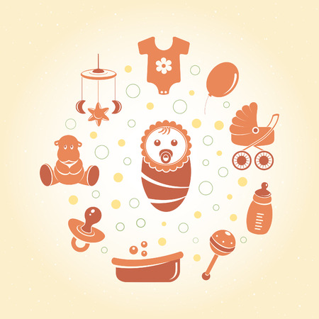 romper: Baby icons round card Illustration