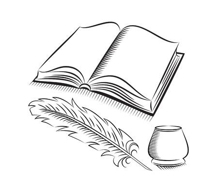 Pluma del estilo del bosquejo y el tintero con el libro
