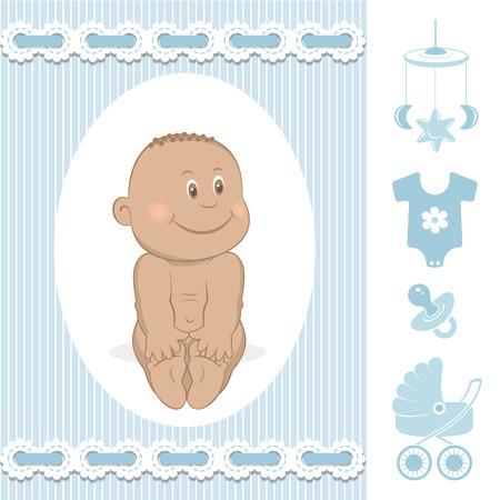 Cute African baby boy Vector