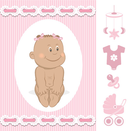 romper: Cute African baby girl Illustration