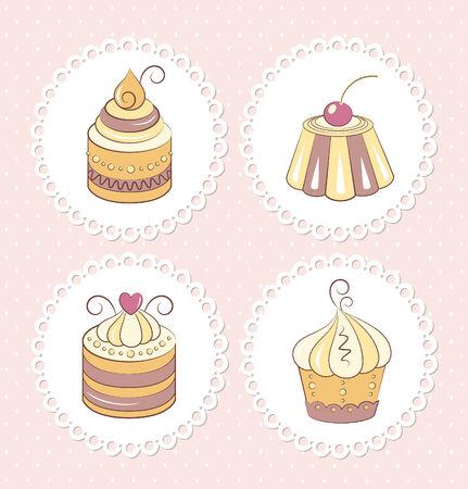Sweet cupcakes set Vector