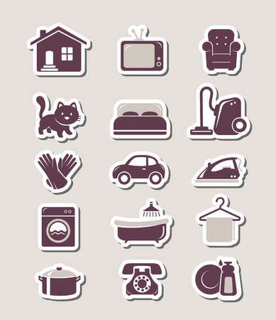 auto washing: Household paper cut icons