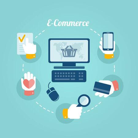 marketing online: Flat design concept of online shop and e-commerce