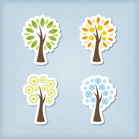 Four season tree icons Vector