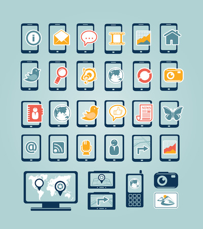 Mobile device icons Vector