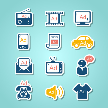 Advertisement paper cut icons Vector