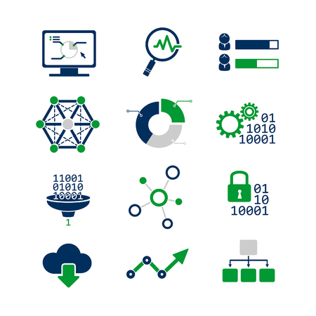 Data analytic icons set Vector