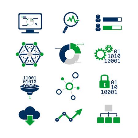 Data analytic icons set Ilustrace