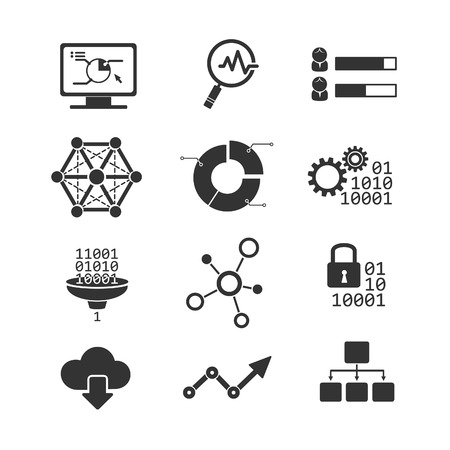 social security: Data analytic vector icons