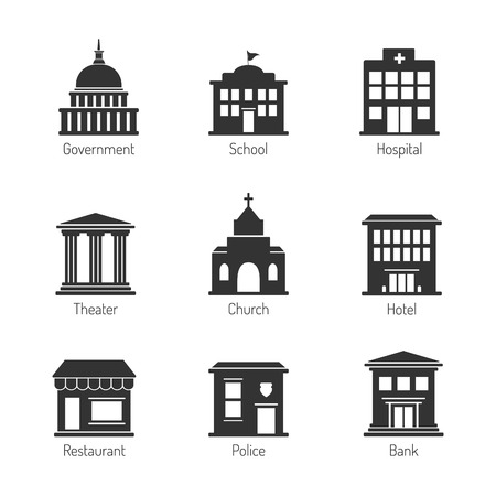 hospitals: Government building icons Illustration