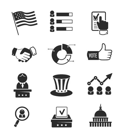 us government: Voting and elections icon set