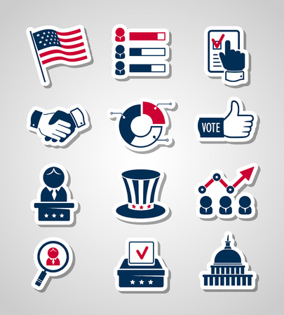 congress: Voting and elections paper cut icons