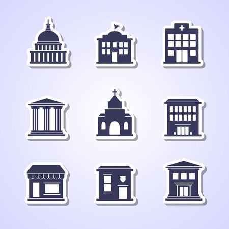 Overheidsgebouw papier gesneden iconen
