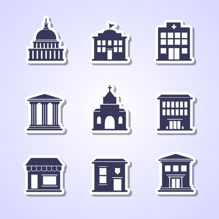 Government building paper cut icons