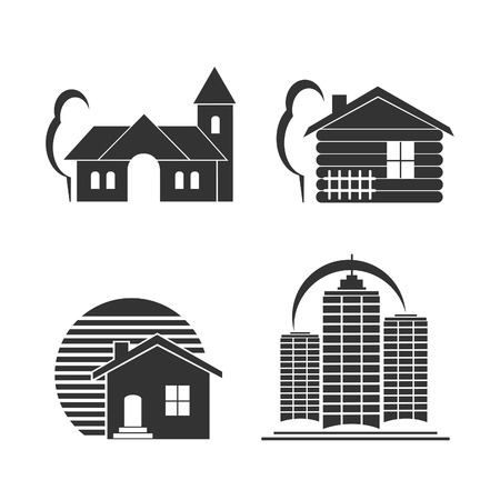 simple house: Building icons vector set