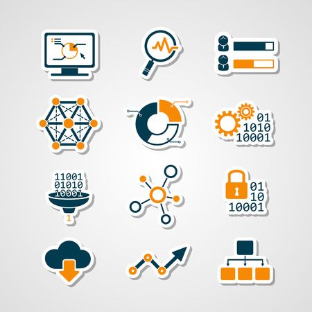 computer network diagram: Data analytic icons paper cut set Illustration