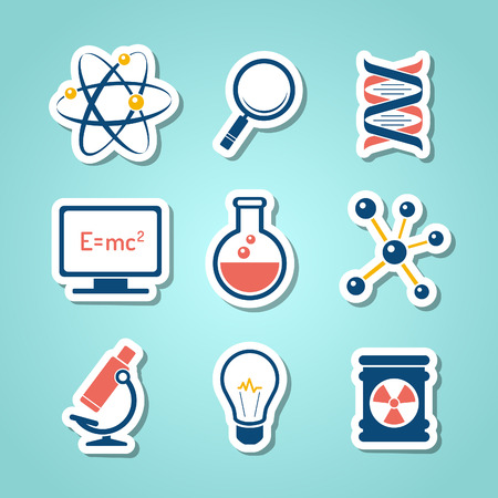 Chemistry and science paper cut icons Vetores