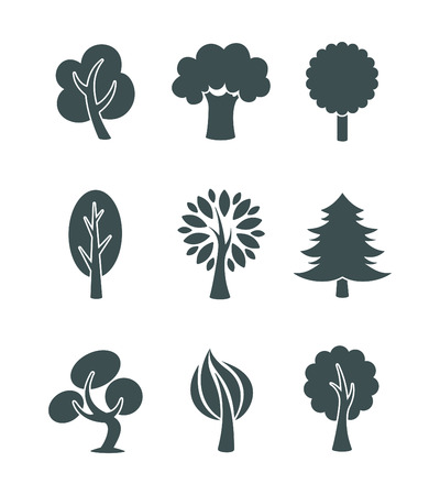 tree silhouettes: Tree icons set