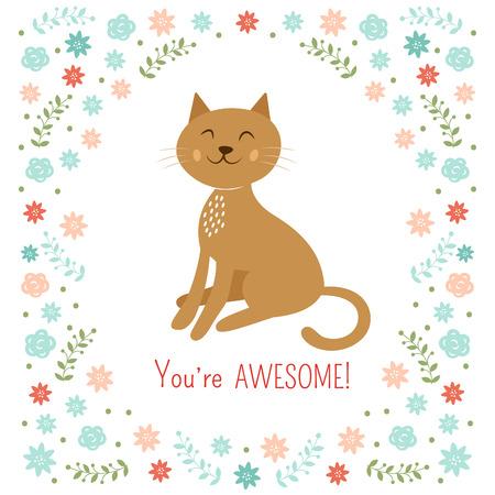 Cute little cat vector illustration Vector