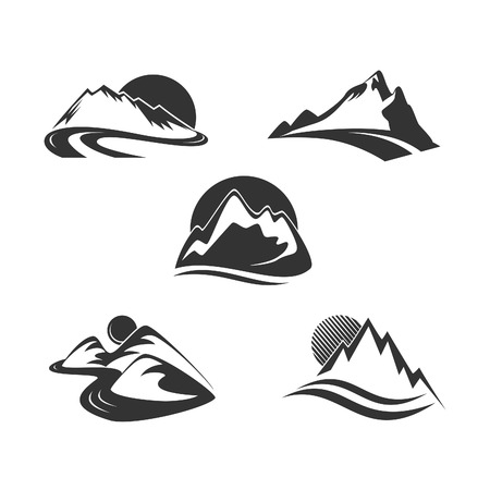 rocky mountains: Mountain icons set