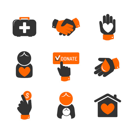 social awareness symbol: Charity and donation icons