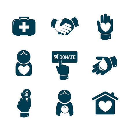 Charity and donation icons set Vector