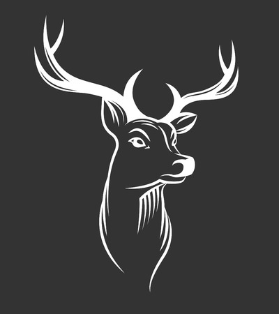 wild: Deer head on black background Illustration