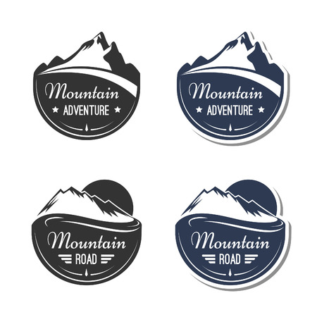 winter sport: Mountain design elements Illustration