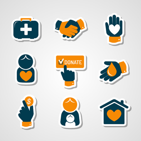 social awareness symbol: Charity and donation paper cut icons