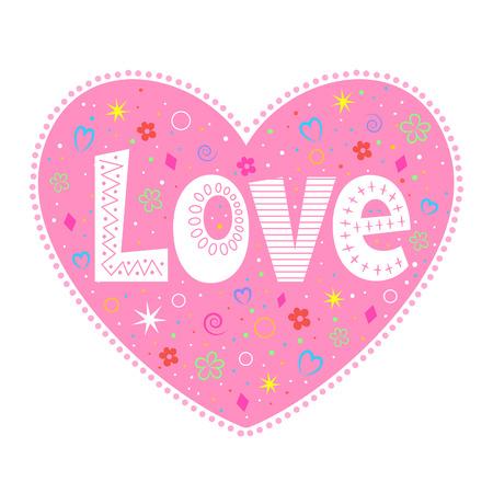 Love lettering decorative heart 向量圖像