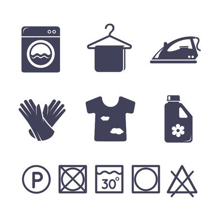 laundry: Iconos lavandería establecen