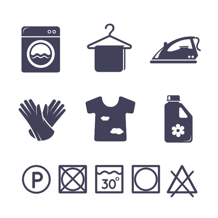 washing hands: Laundry icons set