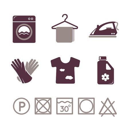 personal de limpieza: Iconos lavander�a establecen